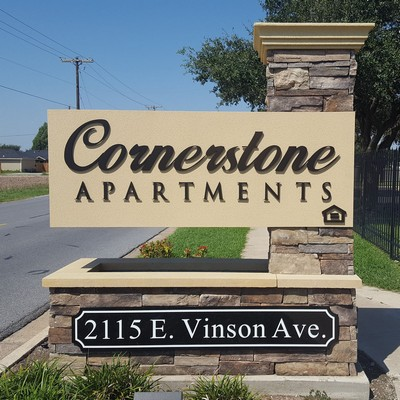 View of Cornerstone Apartments signage. Click to view the photo gallery.