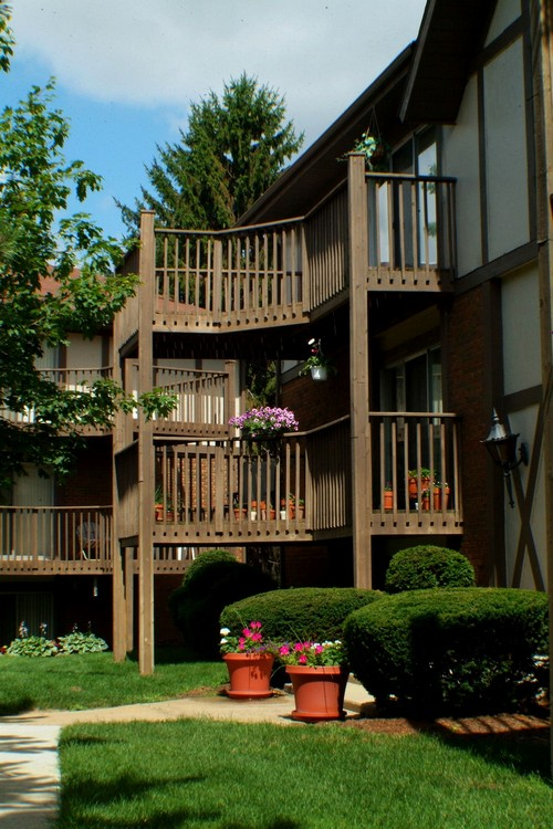 Exterior view of apartment buildings with open balconies