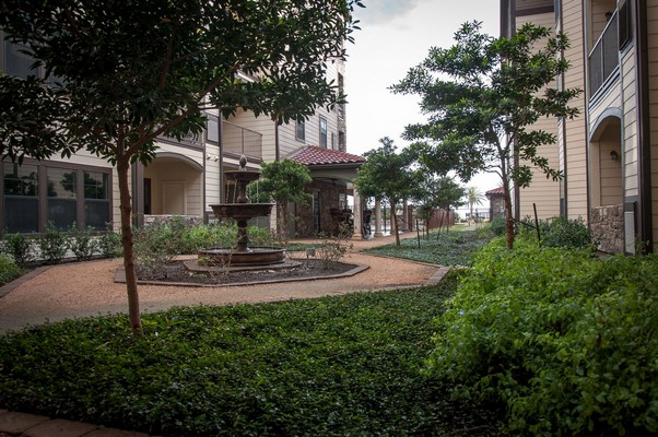Landscaping between buildings. Click to view the photo gallery.