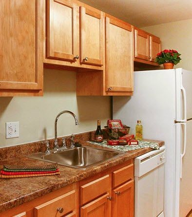 Apartment kitchen with maple cabinets