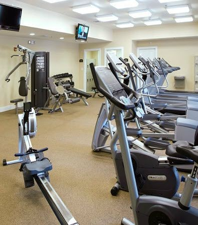 Gym with exercise equipments