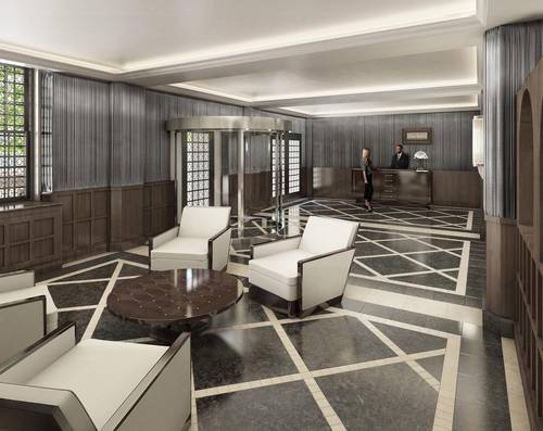 artists rendering of lobby with view of front desk