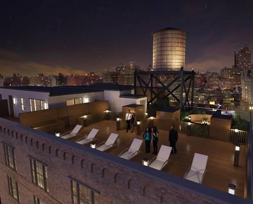 artist's rendering of rooftop lounge area