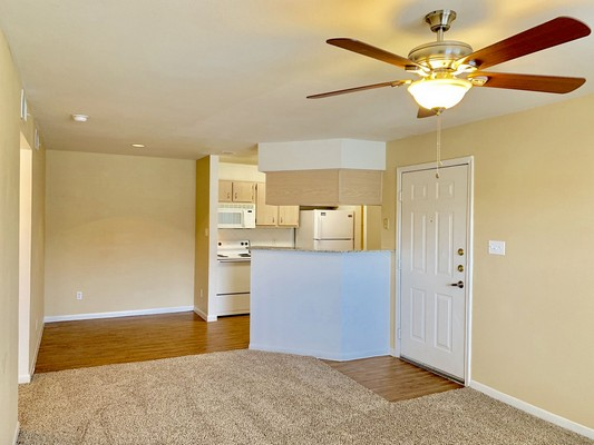 Apartment living area with view of kitchen. Click to view the photo gallery.