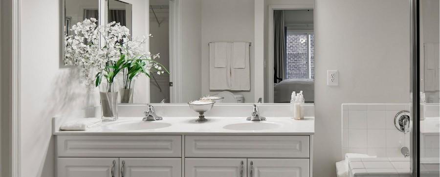 Apartment bathroom with double vanity