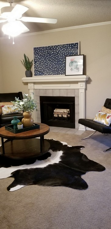 Apartment living area with fireplace