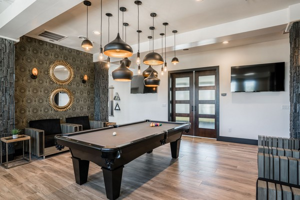 Game room with pool table. Click to view the photo gallery.