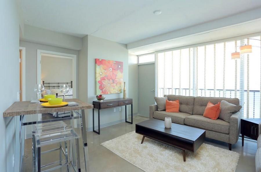 Living room and balcony door