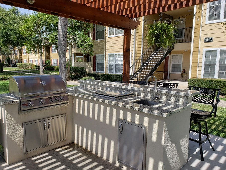 Common outdoor kitchen and grill.