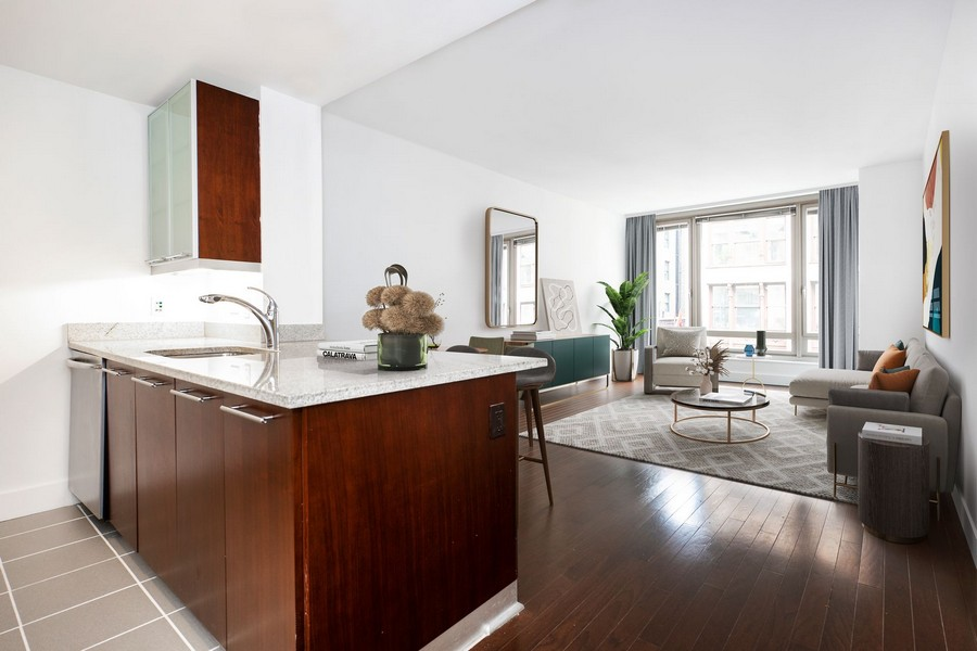 view of open-concept living area in apartment