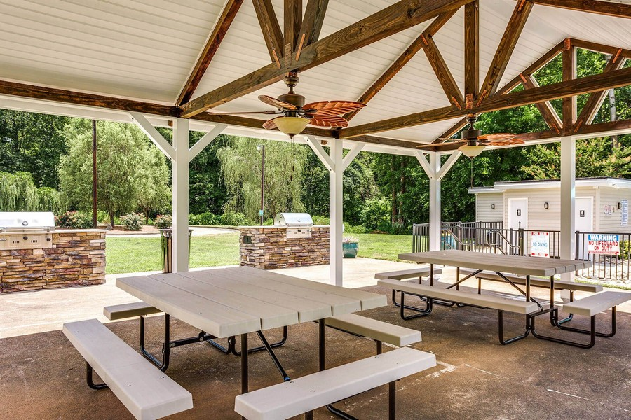 Outdoor picnic area with seating