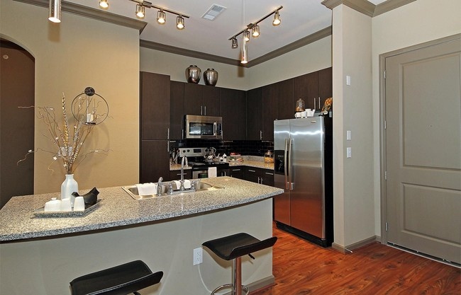 Apartment kitchen with granite countertops and dark cabinets