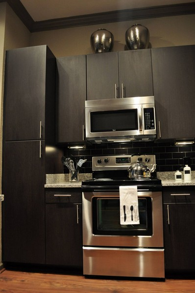 Apartment kitchen with dark cabinets