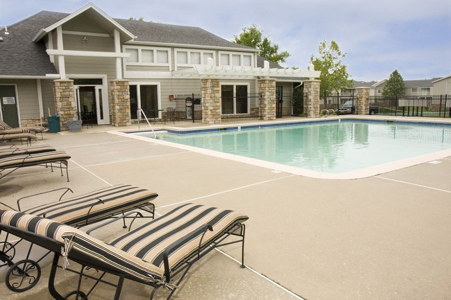 Pool and lounge chairs.