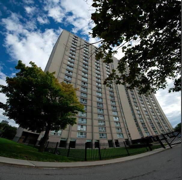View of apartment building taken with a fish-eye lens