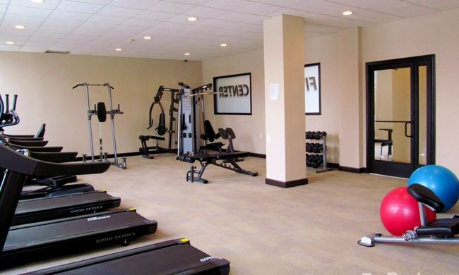 Fitness center with various equipment