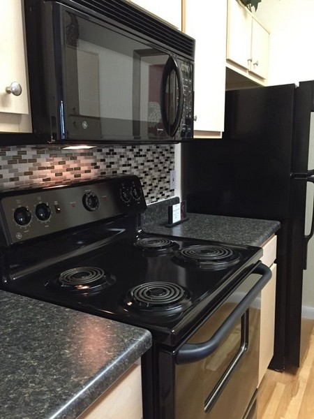 stovetop and microwave in apartment kitchen