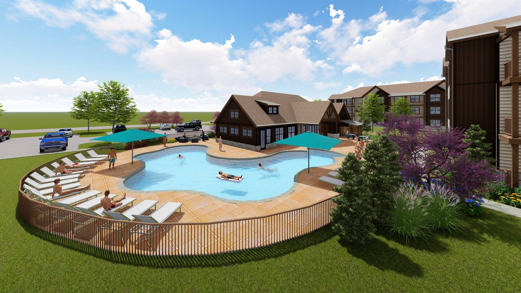 Rendering of swimming pool and community