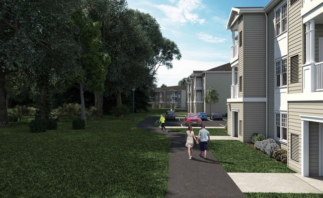 Rendering of paved walkway and apartment buidings