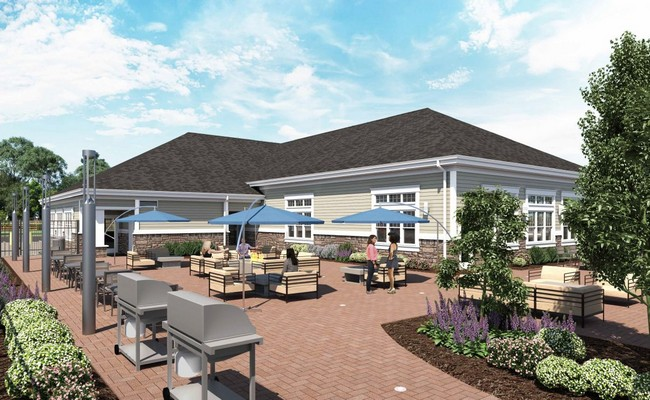 Rendering of outdoor seating area