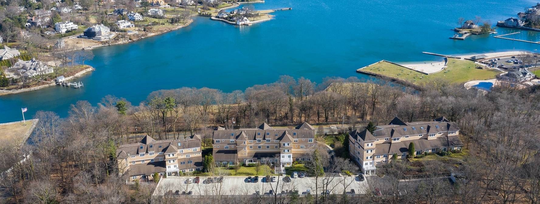 Aerial view of property overlooking lake view