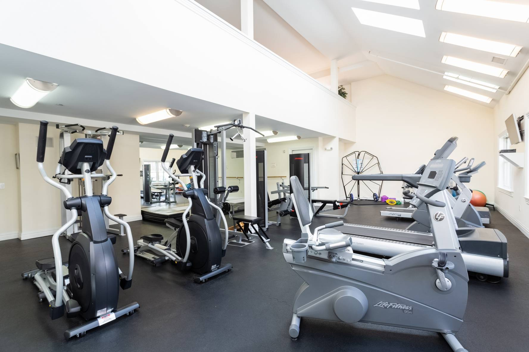 State of the art fitness center with cardio and strength training equipment