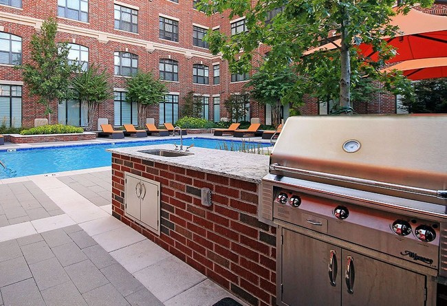 Poolside grill area with sink