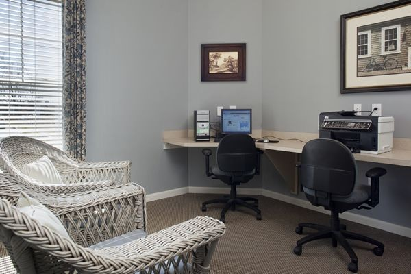 Business center with computer and seating