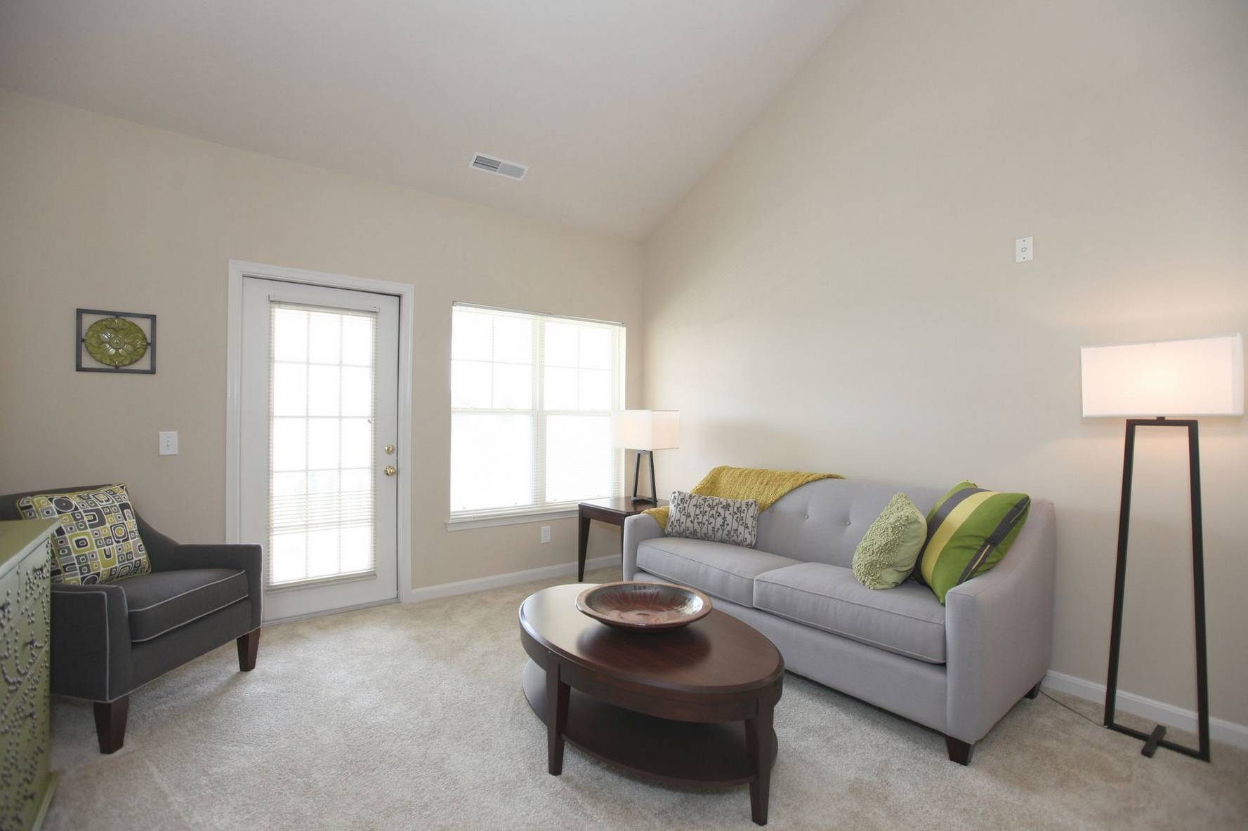 Apartment interior with light gray couch and carpet