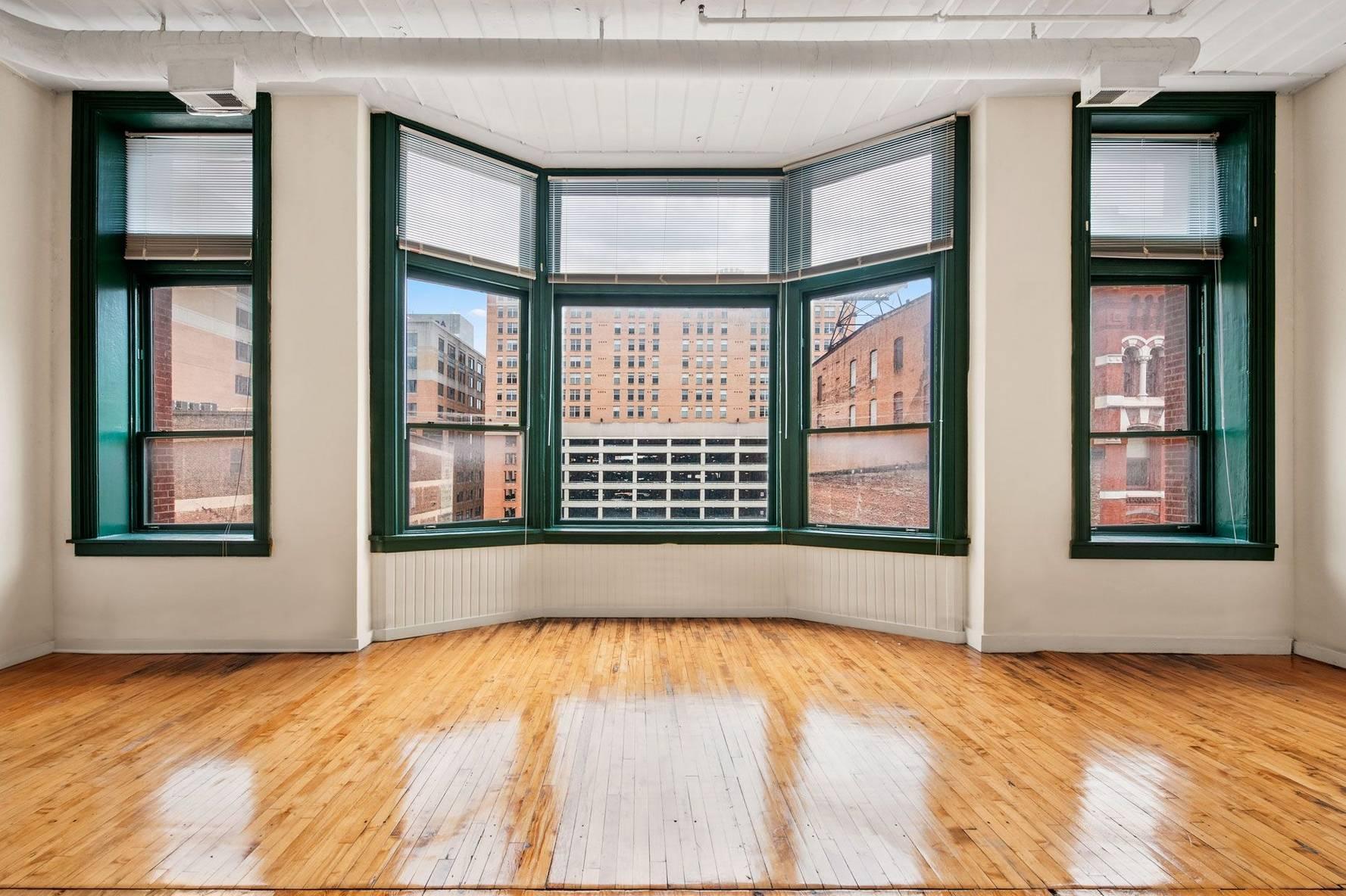 Set of three large windows in apartment