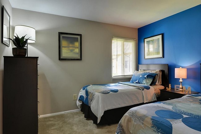 two twin beds with blue wall, dresser and window
